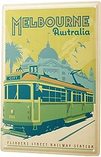 Cartel de chapa Placa metal tin sign Deco Ciudad Melbourne Australia Tram 20X30 cm