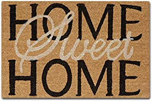 J&L House Sweet Home Non Slip Door Mat Creative Home Decorative Entrance Rug Inside Outside Mats Rubber Backing Dirt Trapper Doormat Low Profile Machine Washable Carpet,18 x 30 Inch