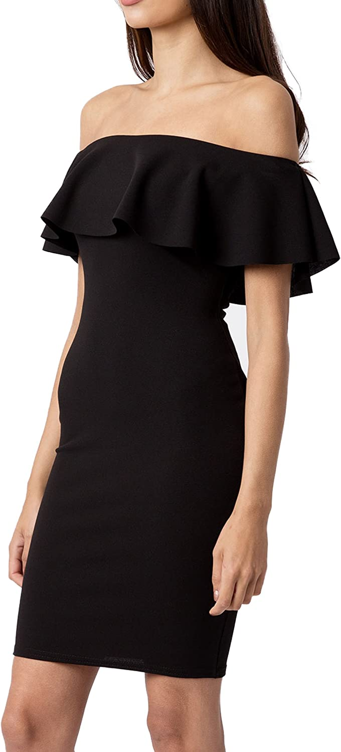 Re Tech UK Womens Frill Off The Shoulder Bodycon Dress Bardot Party Size 8-14