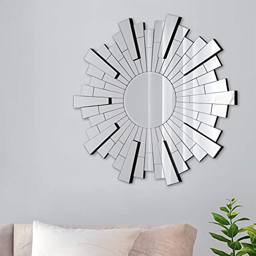 Everly Hart Collection Beveled Silver Starburst Accent Wall Mounted Mirror