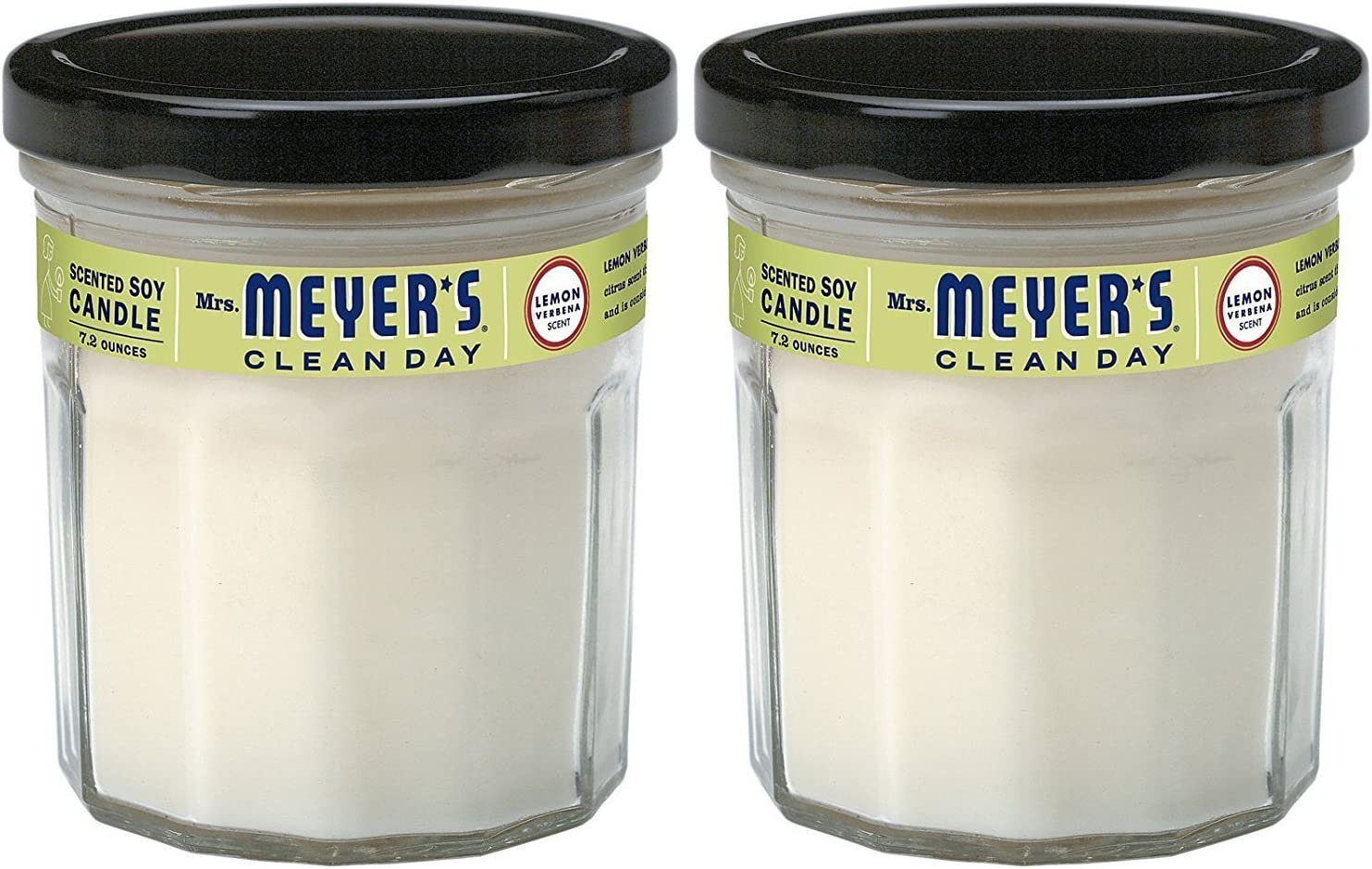 7.2 Ounce Mrs Candle Meyers Clean Day Scented Soy Candle Pack of 2 Lemon Verbena
