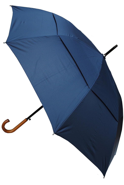 Collar and Cuffs London - Windproof 134 cm Bogen - Holzgriff - Sehr Stark - Verstärkt mit Fiberglas - StormDefender City - Ventilationsbezug - Automatik Stockschirm - Regenschirm - Marineblau - Blau CCLSTORMPUMB10219