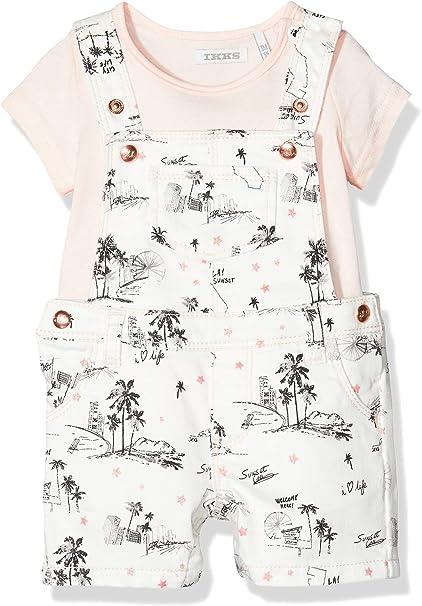 IKKS Junior Baby-M/ädchen Ensemble Salopette Palmier Et T-Shirt Rose Overall