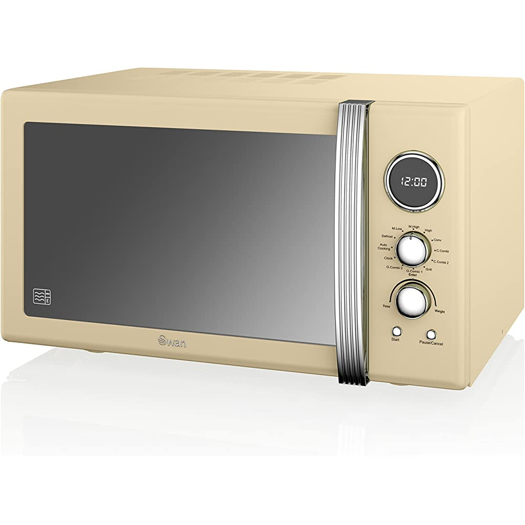 Swan SM22080CN Retro Digital Combi Microwave with Grill, 25 L - Cream