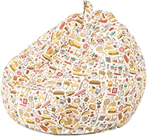 Nobildonna Bean Bag Chair Cover Only for Kids Boys Girls Teens Toddler. Big Beanbag Without Filling Storage Stuffed Animal Sofa Sack for Organizing Soft Doll Toy (Pizza Burger,32x29inch)