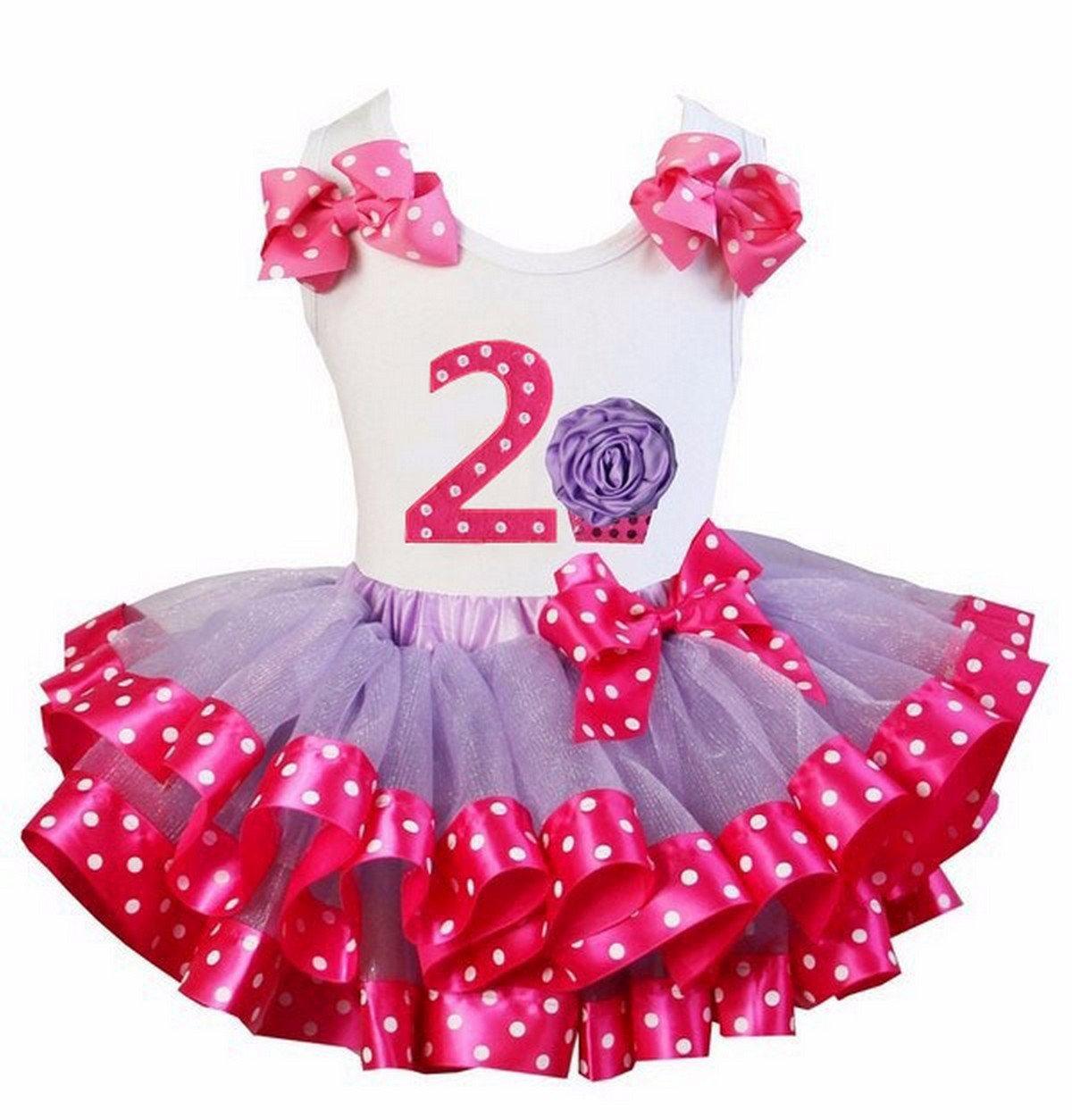 Kirei Sui Hot Pink Polka Dots Tutu 2nd Rosette Cupcake Tank Top Small Purple