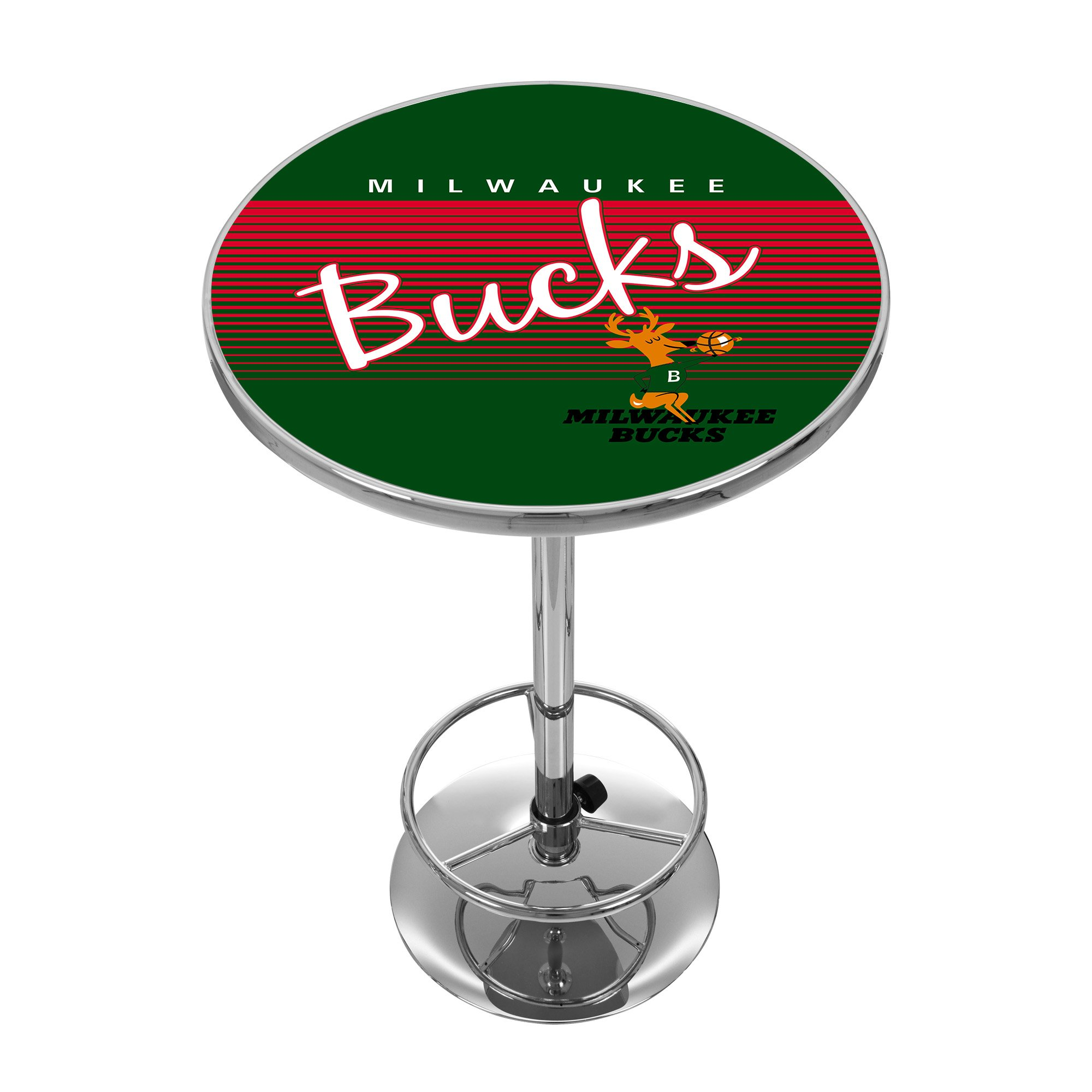 NBA Milwaukee Bucks Chrome Pub Table, One Size, Chrome by Trademark Global