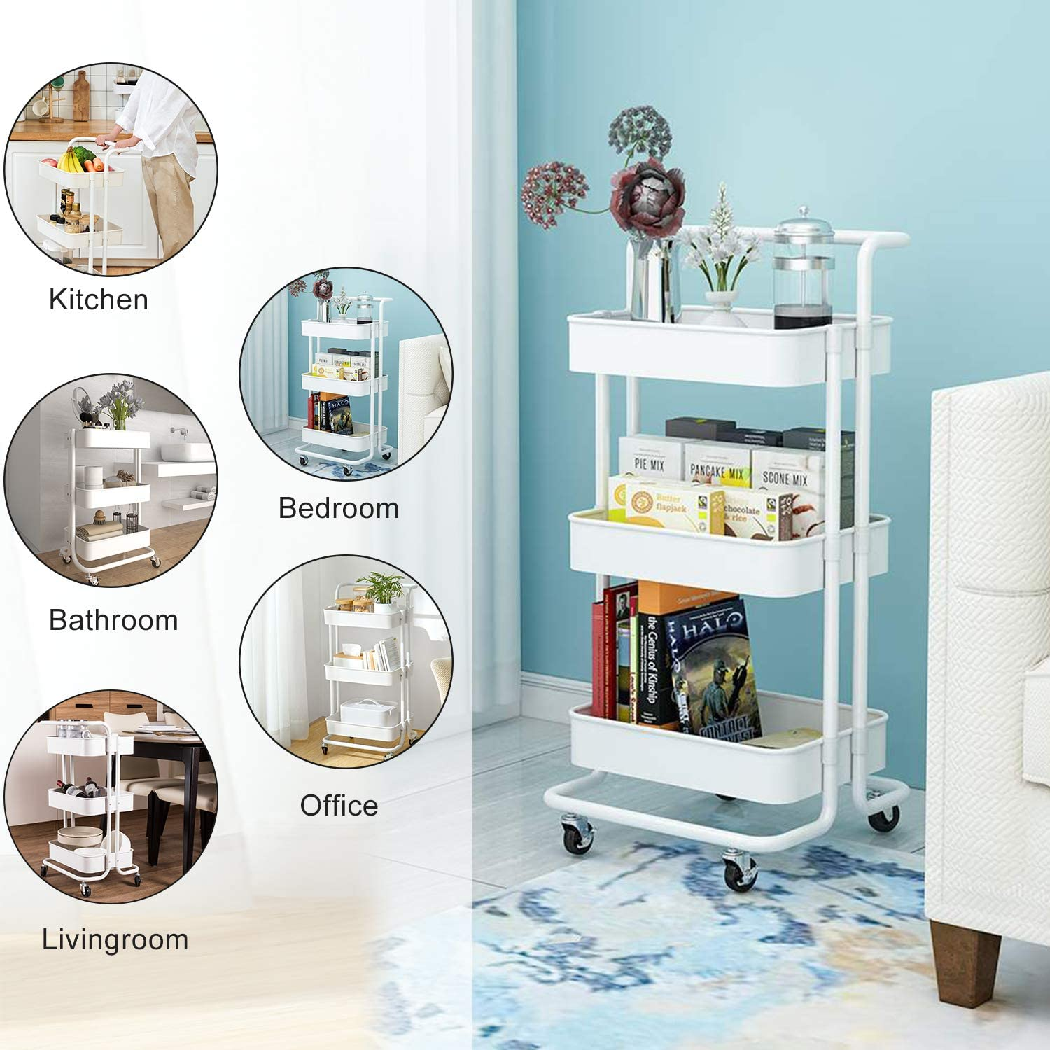 Office Bathroom PECHAM 3-Tier Rolling Utility Cart with Handle Movable Storage Organizer Shelves Multifunction Storage Trolley Service Cart with Lockable Wheels,Easy Assembly for Kitchen