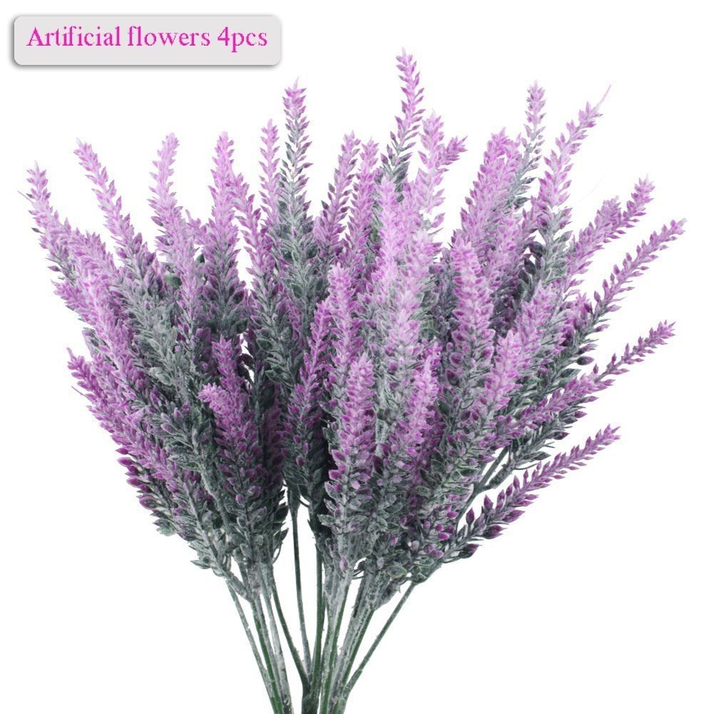 (Red) - Lavender Bouquet, Meiwo 4pcs Artificial Flowers Lavender Bouquet for Garden/Home/Cafe/Office/Wedding Decor (Red) B072X6QJMT レッド