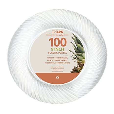 Amazon.com: 100 Premium Clear Plastic Plates for Dinner Party or ...