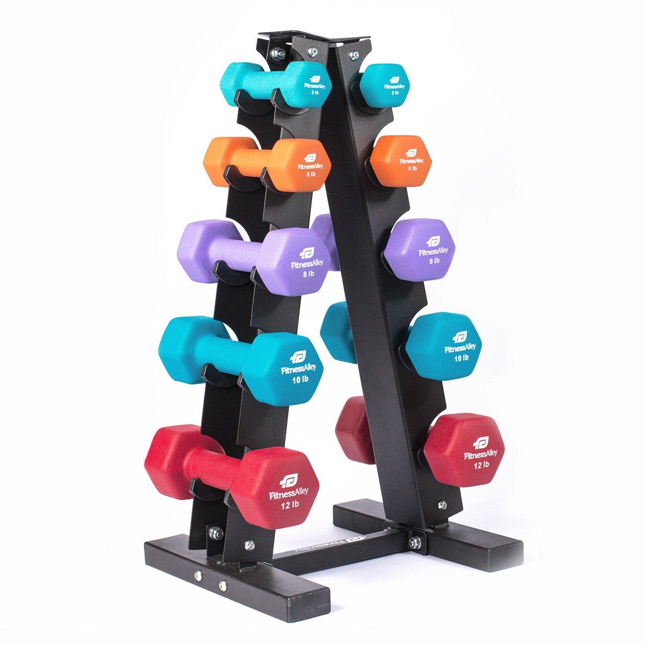 Fitness Alley Steel Dumbbell Rack - 5 Tier Weight Holder & 5 Tier Weight Rack Dumbbell Stand - Dumbbell Holder - Dumbbell Rack Stand (5 Tier Rack & 3,5,8,10,12 lbs Dumbbells)