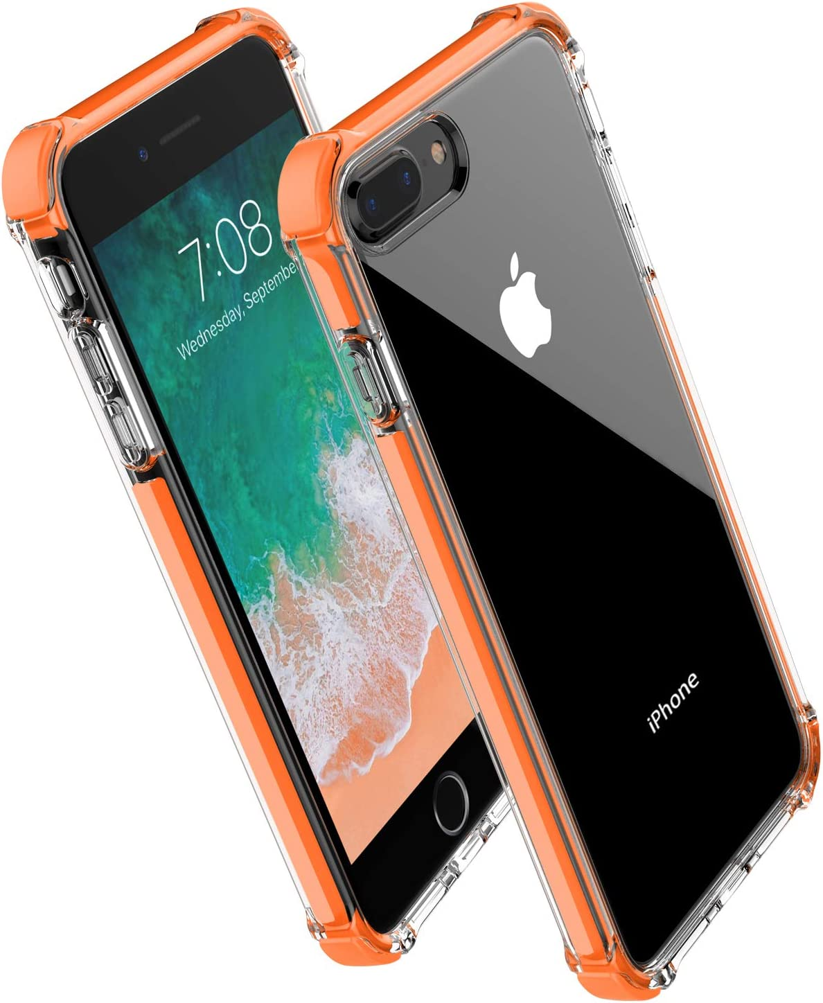 Noii for iPhone 8 Plus case iPhone 7 Plus case, Clear Hybrid Drop Protection case,[TPE Super Rubber Bumper] Shockproof case,Upgraded Reinforced Edges Technology,Heavy Duty Protective Cover-Orange