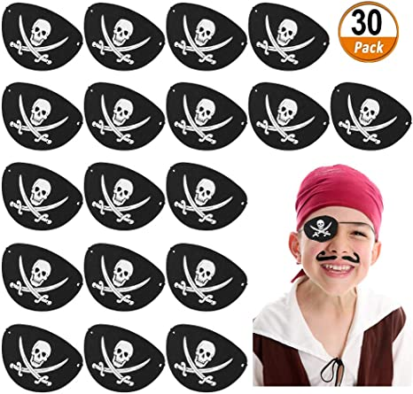 Eye Patch Pirate Mask with Adjustable Strap for Halloween Party Christmas and Children Party Xrten 12 Pcs Pirate Eye Patches