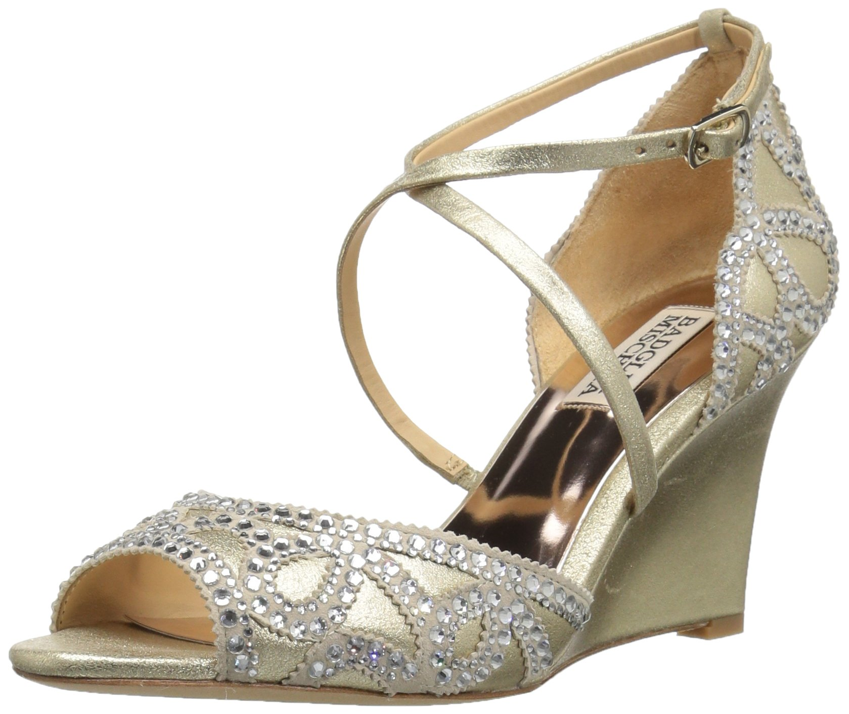 Badgley Mischka Women's Winter Wedge Sandal, Platino, 8 M US
