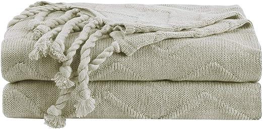 PiccoCasa - Manta de punto 100% algodón, suave, sólida y ...