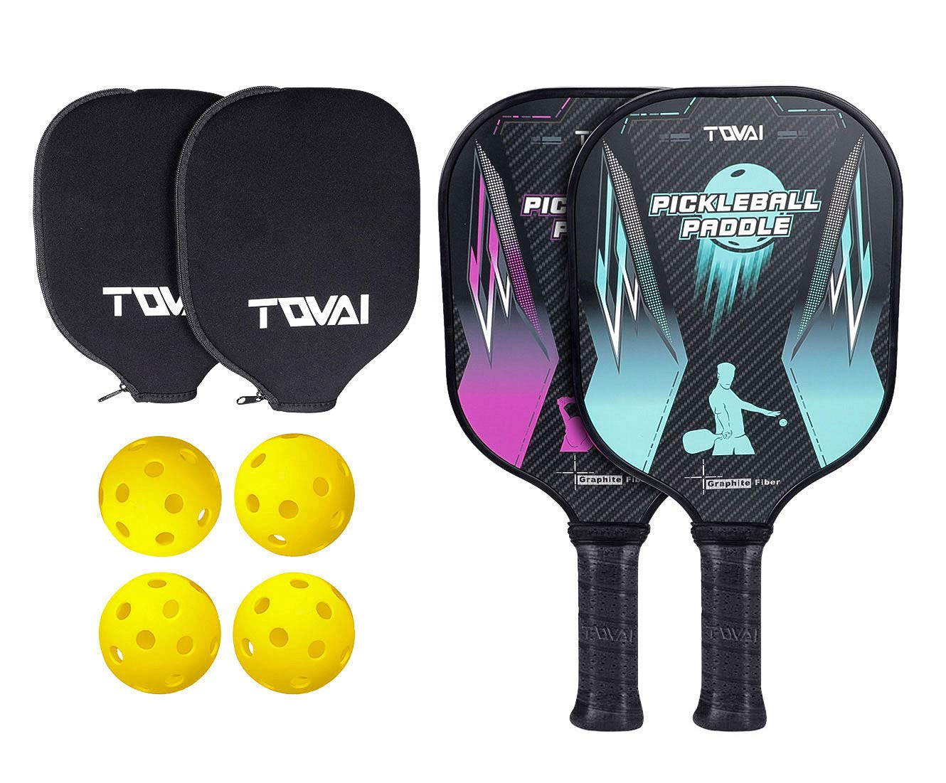 TQVAI Graphite Pickleball Paddles Set - 2 Lightweight Graphite Honeycomb Composite Core Racquets 4 Pickleballs 2 Neoprene Waterproof Cover by TQVAI