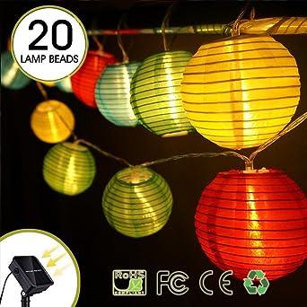20 LED Solar Lichterkette Lampion warmweiß Außenbeleuchtung Garten Solarleuchte
