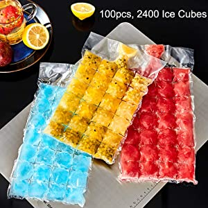 Disposable Ice Cube Bags,Stackable Easy Release Ice Cube Mold Trays, Self-Seal Freezing Maker,Cold Ice Pack Cooler Bag for Cocktail Food Wine,2400 Ice Cubes, 100 Bags