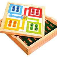 Pytho Chess and Ludo 2 in one Board Game | Wood-Crafted Magnetic Reversible Game Set | Size: 10 X 10 Inches