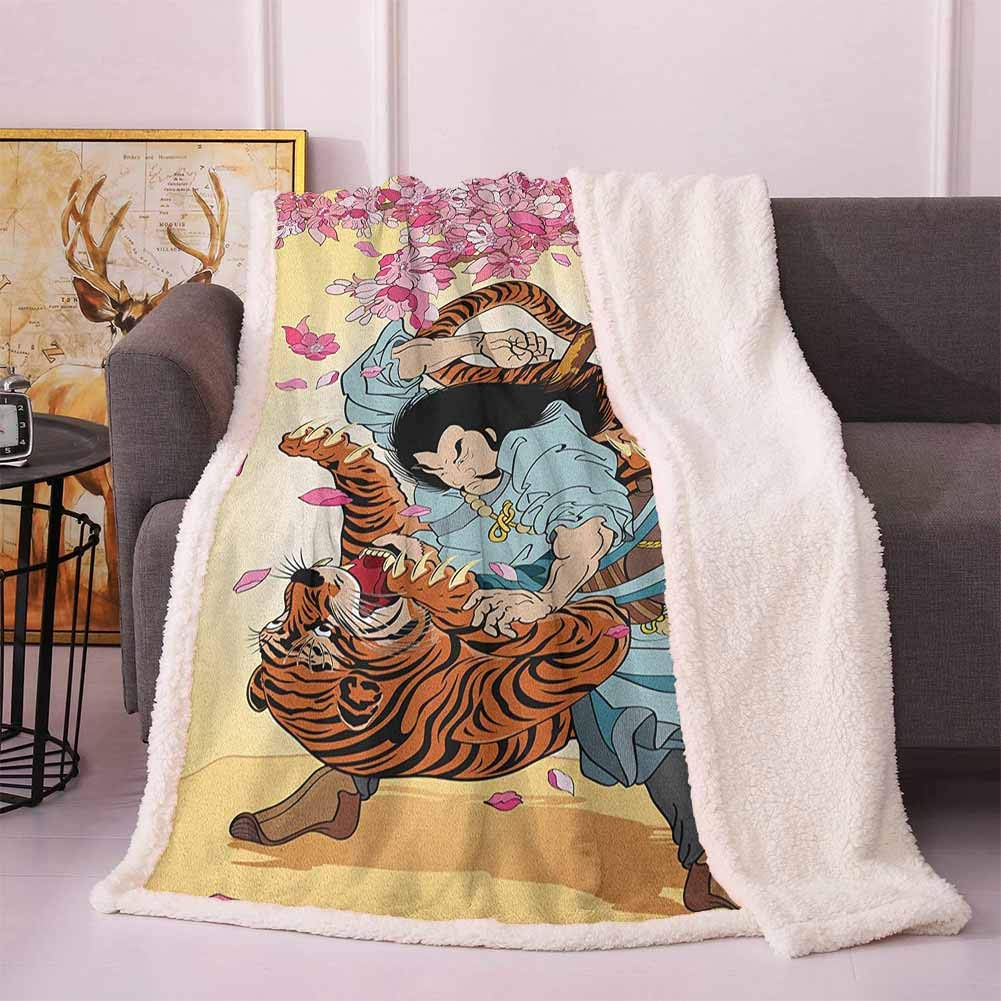"Japanese Sherpa Throw Blanket Brave Samurai and Tiger Clash Turn into Floral Sakura Cherry Blossoms Cartoon Print Bed Blankets Multi 50""x65"""