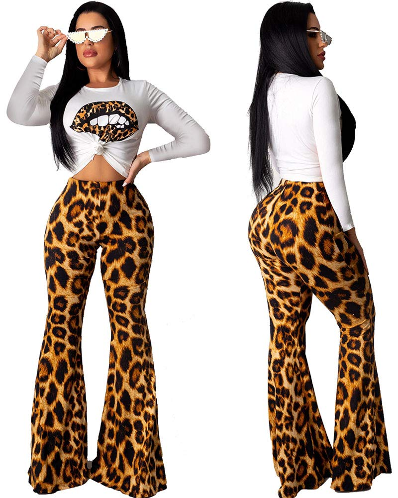 Women Sexy 2 Piece Sets - Casual Jumpsuits Leopard Outfits Long Sleeve Shirt Pant Brown L
