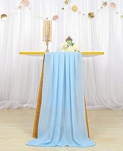Table Runner Blue Chiffon Table Runner 29x120 Sheer Table Runner 10ft Table Cloth Runner Romantic Wedding Decor Modern Table Runner Chiffon Runners for Table Weddings