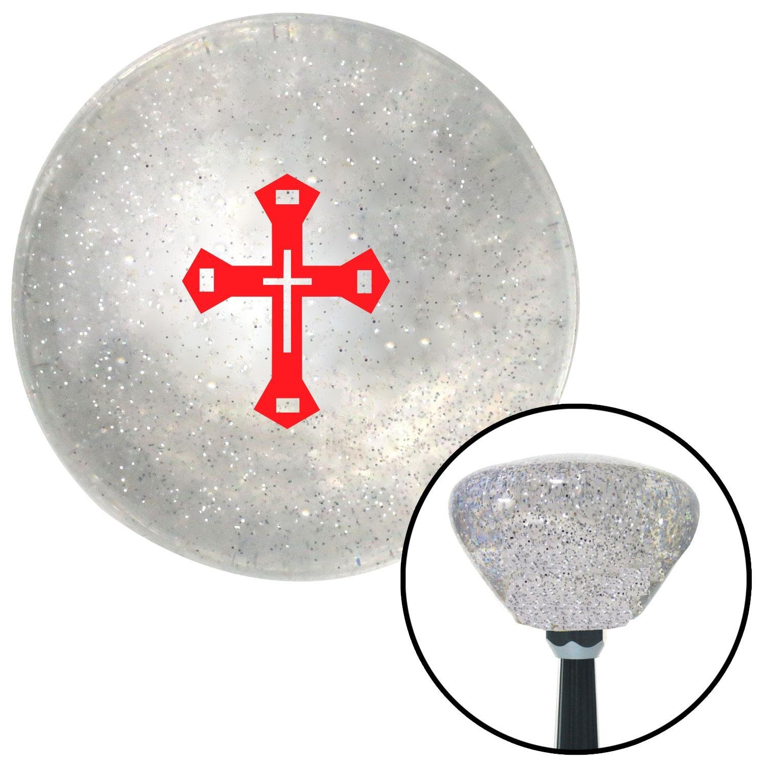 American Shifter 162538 Clear Retro Metal Flake Shift Knob with M16 x 1.5 Insert Red Budded Cross