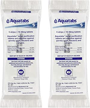 Aquatabs - World's Best Water Purification Tablets for Water Treatment and Disinfection in Convenient Travel Packaging