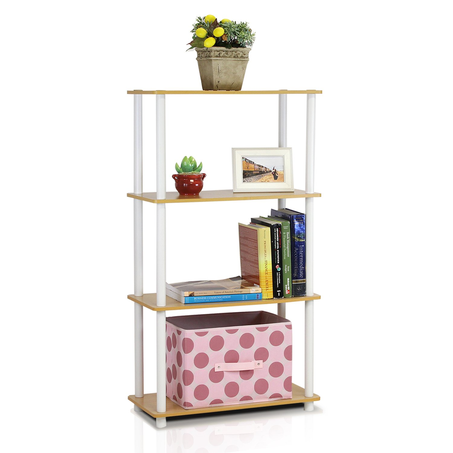 Furinno (99557BE/WH) Turn-N-Tube 4-Tier Multipurpose Shelf Display Rack - Beech/White by Furinno (Image #3)