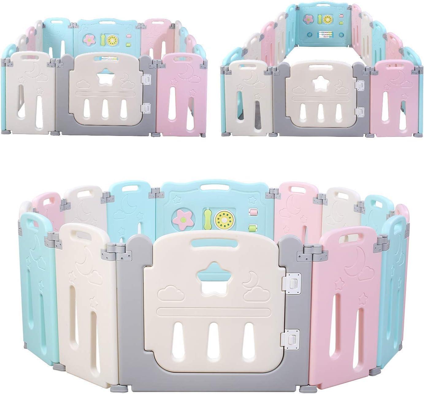 Bamny Parque Infantil para Bebés Niños Duradero Baby Playpen Plástico Apto para Niños de 10 meses a 6 años (12 + 2)