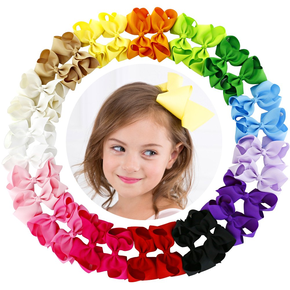 4.5 Inch Hair Bows For Girls Grosgrain Ribbon Boutique Bow Clips Teens Toddlers Kids Set Of 30 (15 Colors x 2)