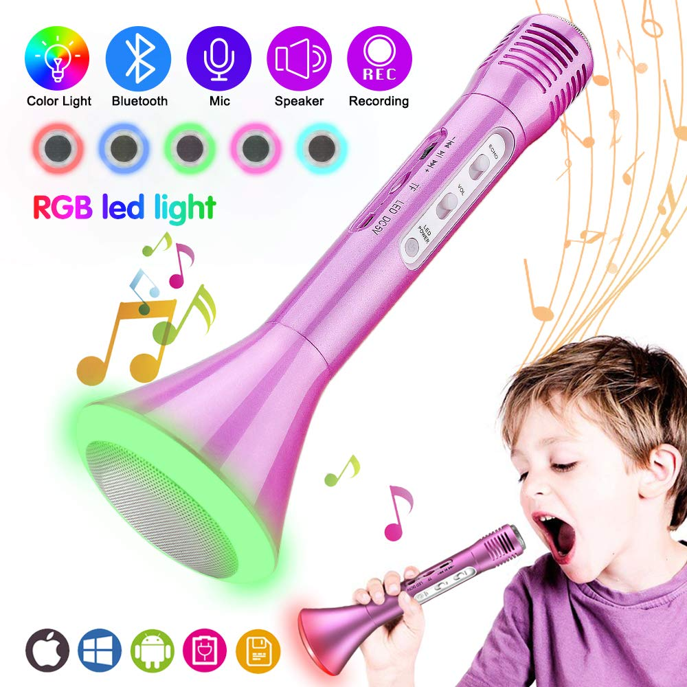 Kids Microphone, Wireless Portable Karaoke Microphone for Kids with Bluetooth Speaker and Colors Changing LED Lights for Home Party KTV Birthday Gift Compatible with PC/iPad/iPhone/Smartphone Ncknciz