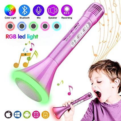 Kids Microphone, Wireless Portable Karaoke Microphone for Kids with  Bluetooth Speaker and Colors Changing LED Lights for Home Party KTV  Birthday Gift