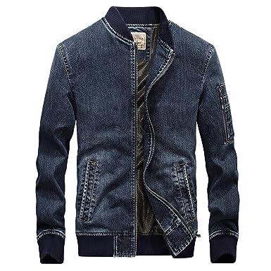 Joyhul Men Jeans Jacket Bomber Denim Jackets Mens Casual ...