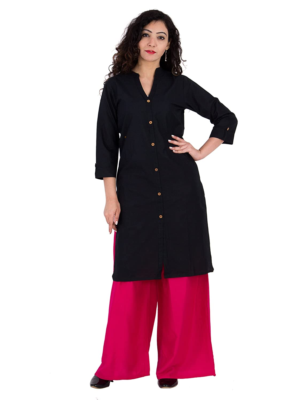BrightJet SolidPerfect Black Cotton Women Fashion Kurti FrontSlit Kurta BJKbl3113