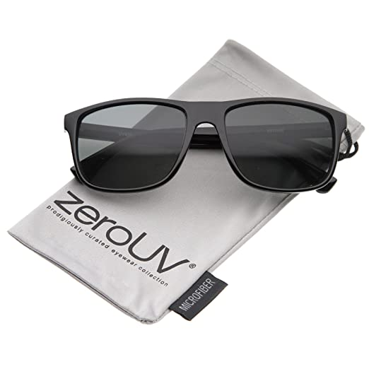 17ee77c5bd Modern Casual Lifestyle Flat Top Rectangle Lens Horn Rimmed Sunglasses 56mm  (Shiny Black Smoke