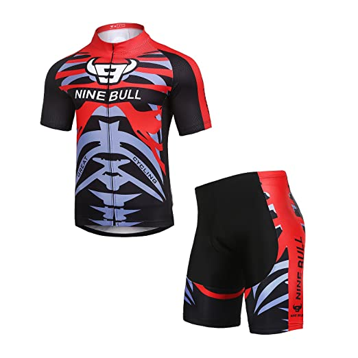 Amazon.com  NINE BULL Men s Cycling Jersey Short Sleeve Quick-Dry With 3D  Padded and Full Zip Polyester Road Breathable Bike Clothing Set Form   Clothing 640a56593