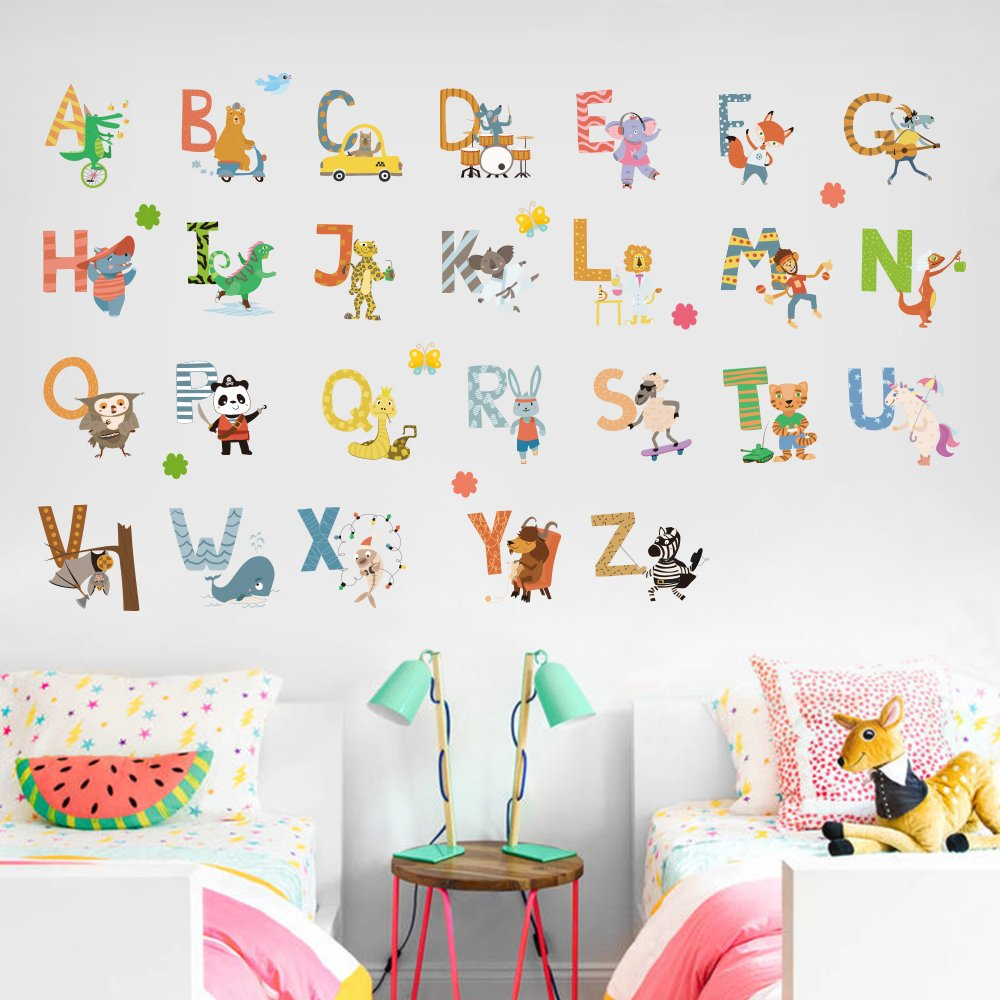 Amazon.com: Letter Baby Bedroom Wall Stickers Child Learning ...