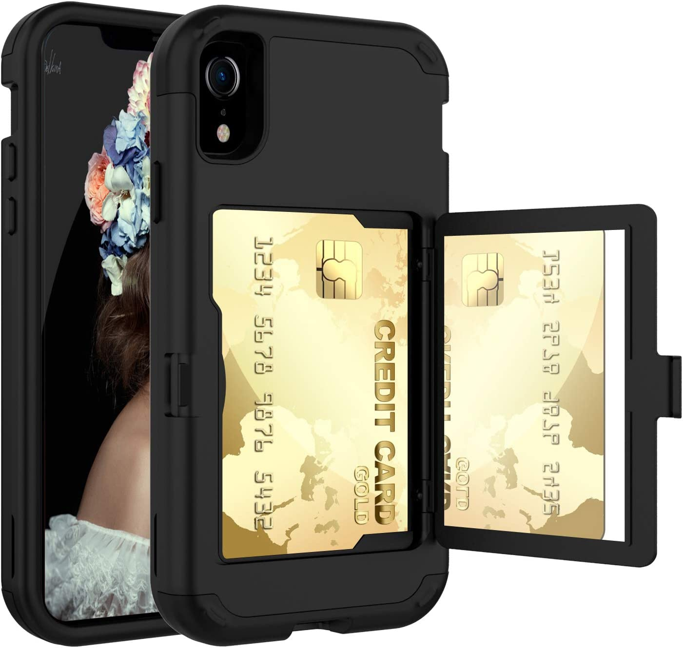 Acxlife iPhone XR Case,XR Wallet Credit Card Holder Case,Shockproof Heavy-Duty Protective Hybrid Cover with Card Slot Holder and Mirror&Kickstand Case for (Black, iPhone xr 6.1 Inch)