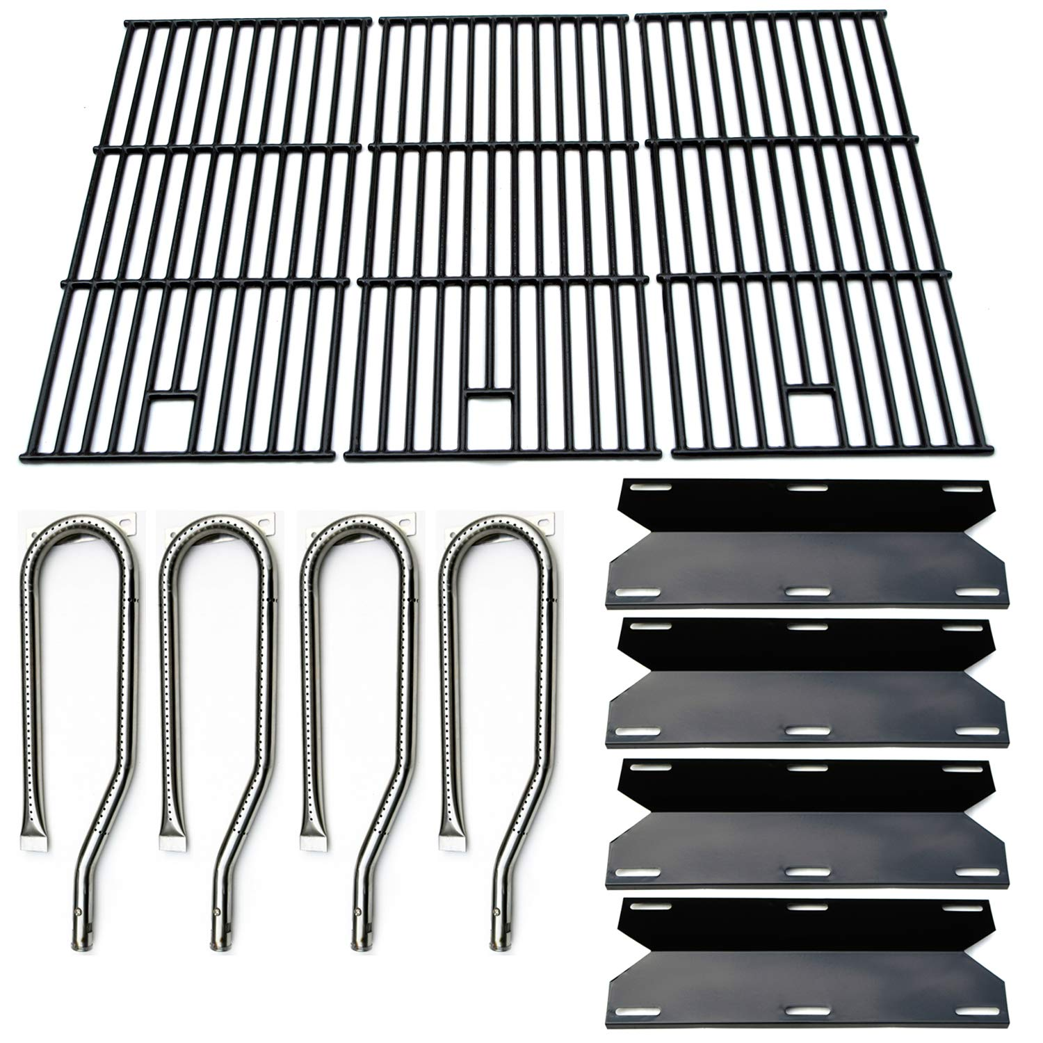 Direct store Parts Kit DG128 Replacement Jenn Air Gas Grill 720-0337 Gas Grill Burners,Heat Plates,Cooking grids(Stainless Steel Burner + Porcelain Steel Heat Plate + Porcelain Cast Iron Cooking Grid)
