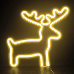 FUNPENY Reindeer Neon Christmas Decorative Light, Neon Sign Christmas Deer Shaped Decor Light, Warm White LED Christmas Indoor Decor for Living Room, Birthday Party, Wedding Party (Warm White)