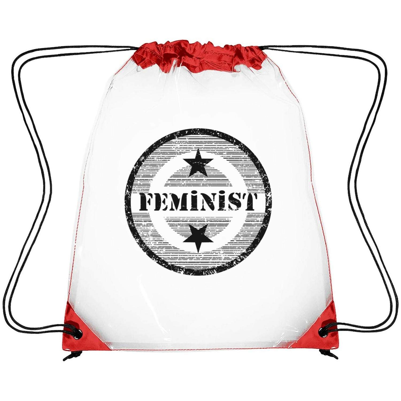Zhdashaiff Drawstring Clear Bags Feminist Logo Printing PVC Adjustable Strap Travel Transparent Bag