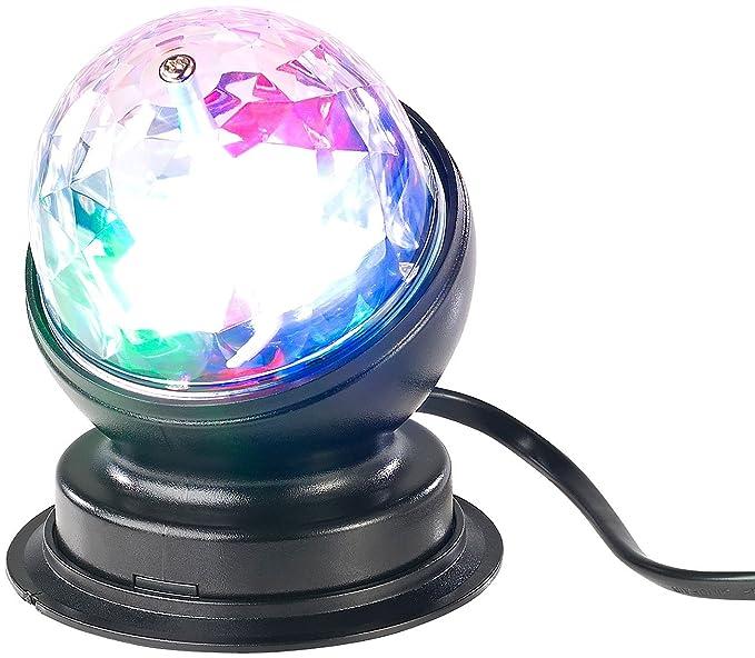 Lunartec Discokugel: Rotierende 360°-Disco-Leuchte mit RGB-LED-Farbeffekten, 3 Watt (Diskolicht)