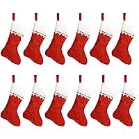 "HOOPE 12 Pcs Christmas Stockings 15"" Xmas Fireplace Socks Candy Gift Bag Santa Christmas Tree Hanging Decoration,Classic…"