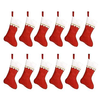 3a450a69d HOOPE 12 Pcs Christmas Stockings 15 quot  Xmas Fireplace Socks Candy Gift  Bag Santa Christmas Tree