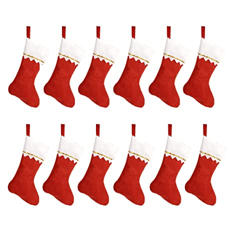 Hoope 12 Pcs Christmas Stockings 15 Xmas Fireplace Socks Candy Gift Bag Santa Christmas Tree Hanging Decoration Classic Red And White Diy Allowed