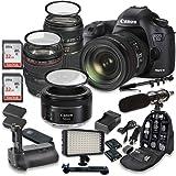 Canon EOS 5D Mark III 22.3 MP Full Frame CMOS Sensor Digital SLR Camera w/ EF 24-105mm f/4 L IS USM Lens + Tamron AF 70-300mm f/4.0-5.6 + EF 50mm f/1.8 STM Lens + Holiday Accessory Bundle