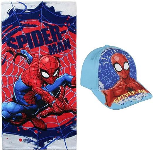 Toalla de Playa niño Spiderman Marvel + Gorra + Regalo, Color Rojo ...