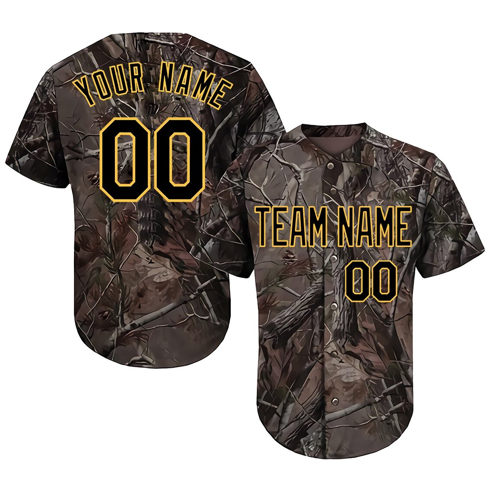 Custom Youth Realtree Camo Baseball Softball Jersey with Embroidered Your Name & Numbers,Black-Yellow Size 3XL by DEHUI