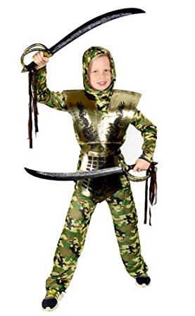 FOXXEO Camuflaje Ninja Dorado para niños Traje Ninja Negro Traje ...